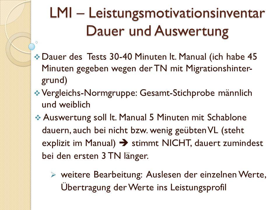 LMI – Leistungsmotivationsinventar Dauer und Auswertung