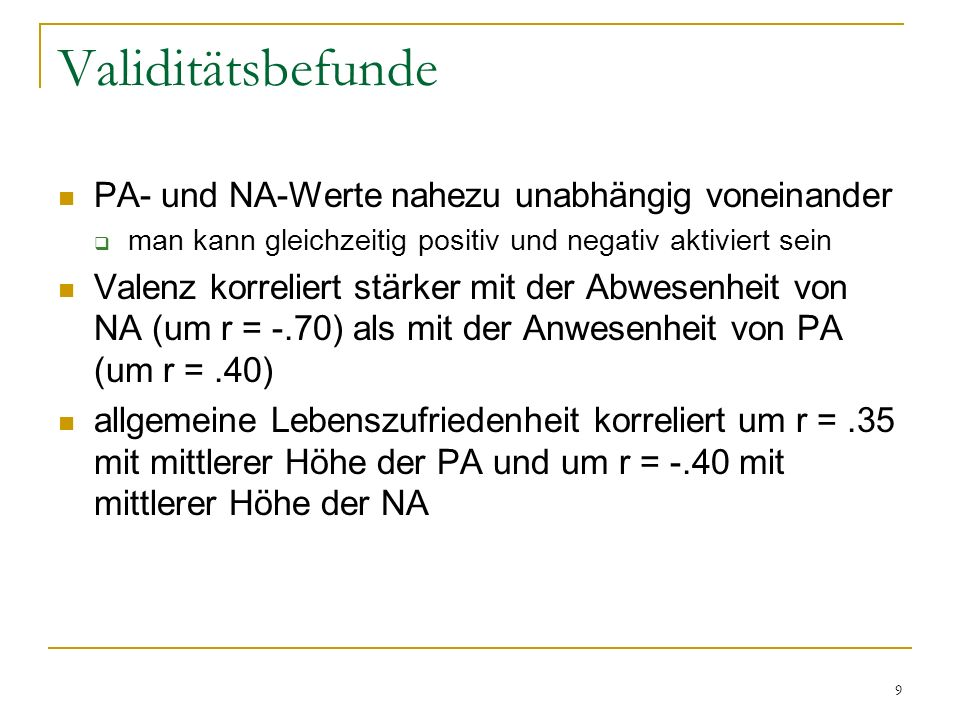 Validitätsbefunde PA- und NA-Werte nahezu unabhängig voneinander