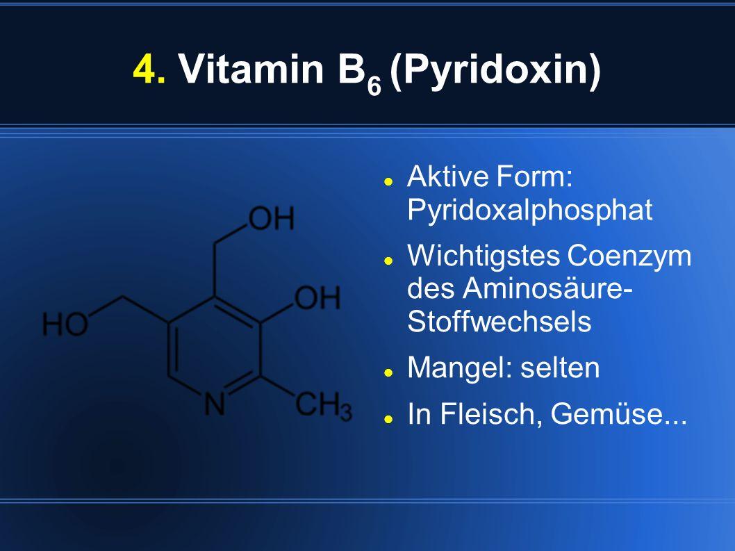 4. Vitamin B6 (Pyridoxin) Aktive Form: Pyridoxalphosphat