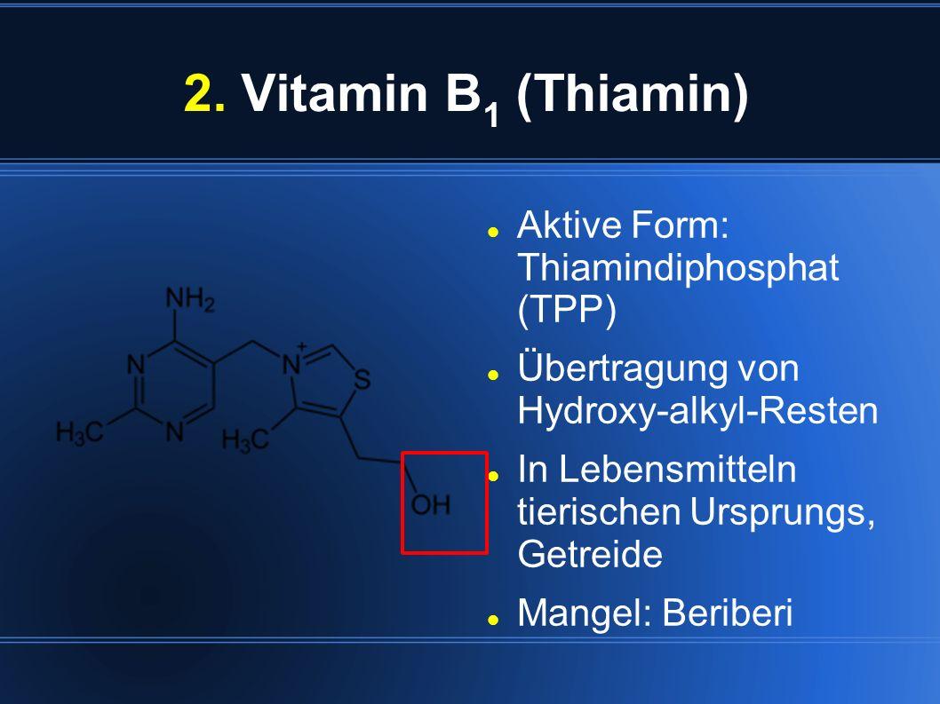 2. Vitamin B1 (Thiamin) Aktive Form: Thiamindiphosphat (TPP)