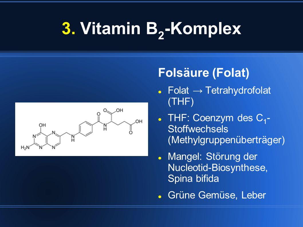 3. Vitamin B2-Komplex Folsäure (Folat) Folat → Tetrahydrofolat (THF)