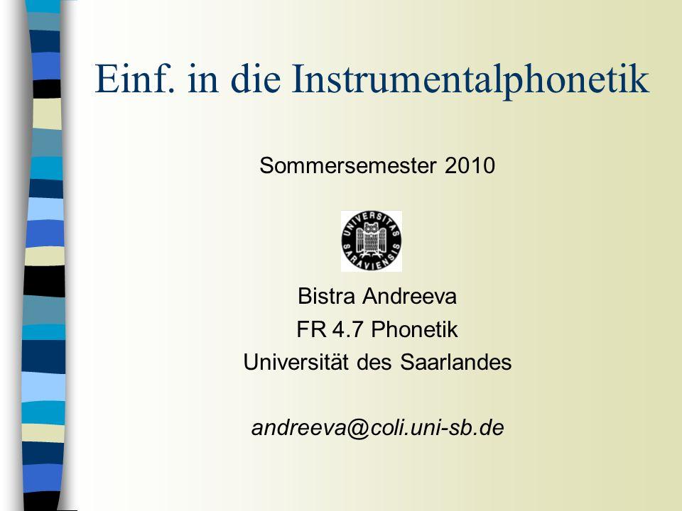 Einf. in die Instrumentalphonetik