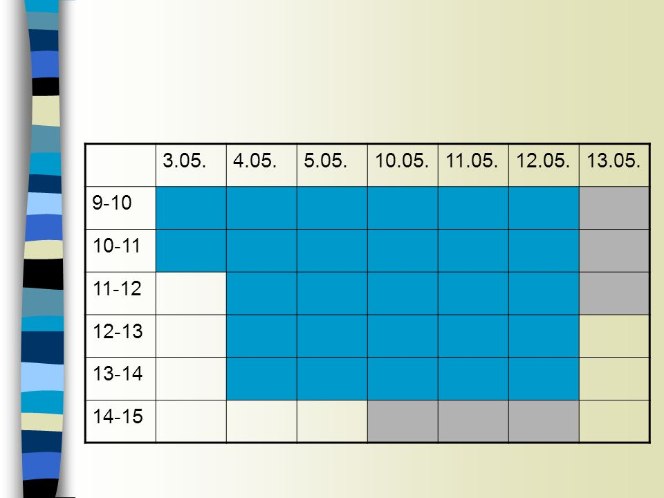 3.05. 4.05. 5.05. 10.05. 11.05. 12.05. 13.05. 9-10 10-11 11-12 12-13 13-14 14-15