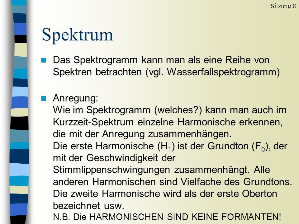 Sitzung 8 Spektrum. Das Spektrogramm kann man als eine Reihe von Spektren betrachten (vgl. Wasserfallspektrogramm)
