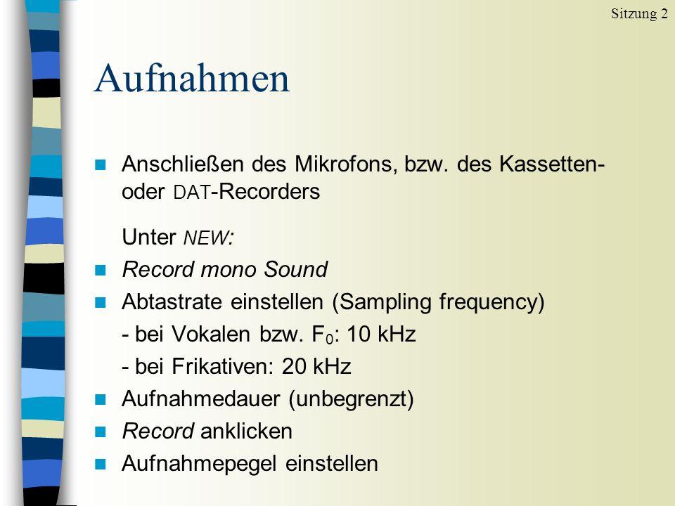 Sitzung 2Aufnahmen. Anschließen des Mikrofons, bzw. des Kassetten- oder DAT-Recorders. Unter NEW: Record mono Sound.