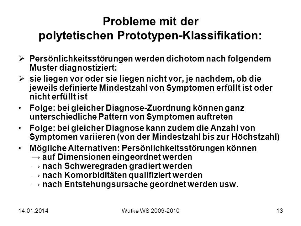 Probleme mit der polytetischen Prototypen-Klassifikation: