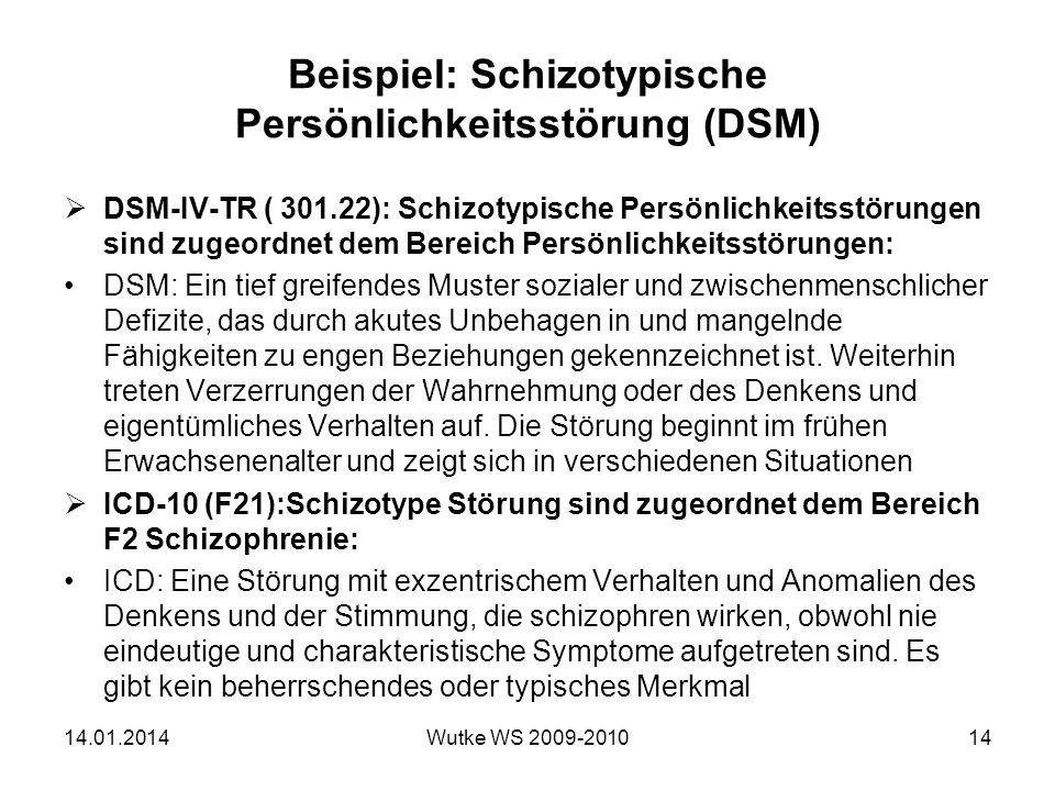 Beispiel: Schizotypische Persönlichkeitsstörung (DSM)