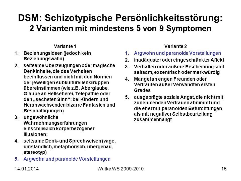 DSM: Schizotypische Persönlichkeitsstörung: 2 Varianten mit mindestens 5 von 9 Symptomen