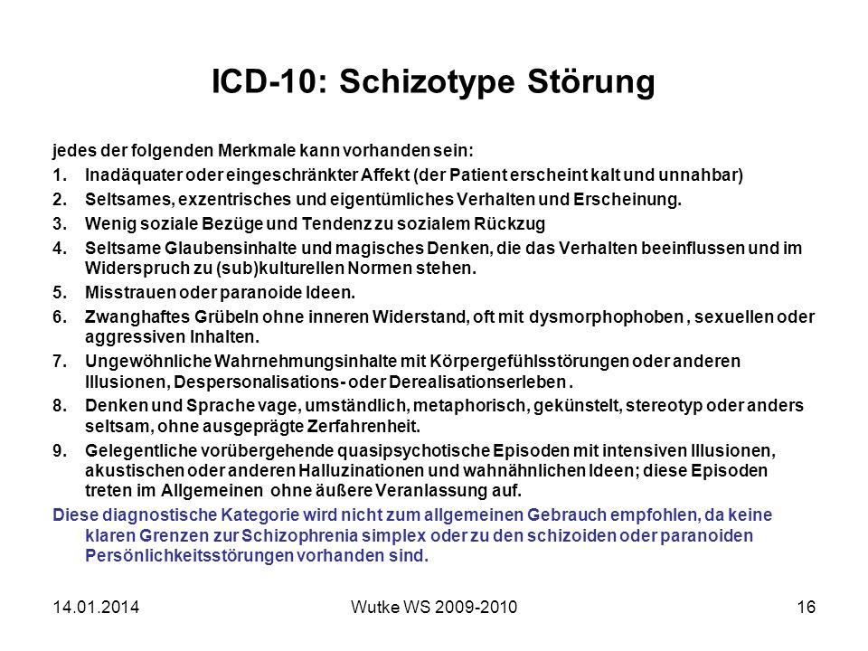 ICD-10: Schizotype Störung