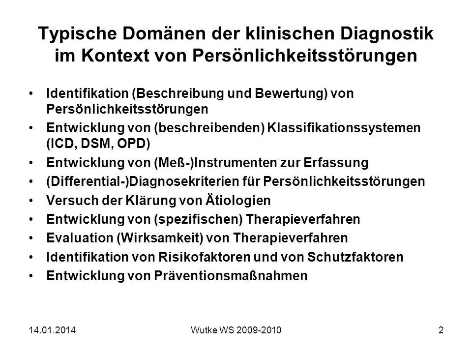 Typische Domänen der klinischen Diagnostik im Kontext von Persönlichkeitsstörungen