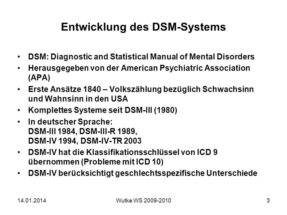 Entwicklung des DSM-Systems