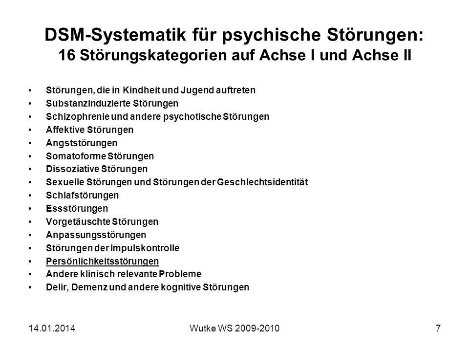 DSM-Systematik für psychische Störungen: 16 Störungskategorien auf Achse I und Achse II