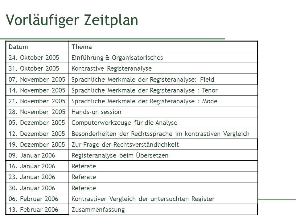 Vorläufiger Zeitplan Datum Thema 24. Oktober 2005