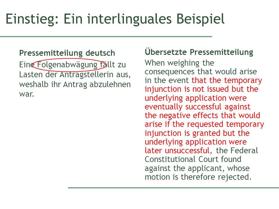 Einstieg: Ein interlinguales Beispiel