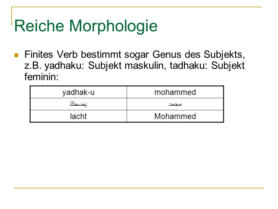 Reiche Morphologie Finites Verb bestimmt sogar Genus des Subjekts, z.B. yadhaku: Subjekt maskulin, tadhaku: Subjekt feminin: