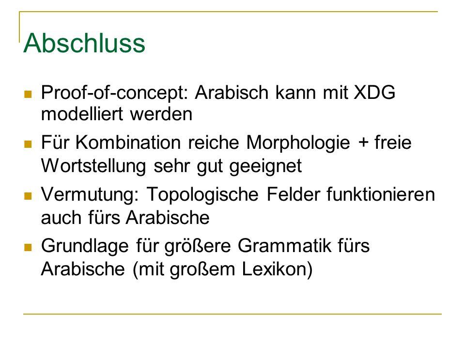 Abschluss Proof-of-concept: Arabisch kann mit XDG modelliert werden