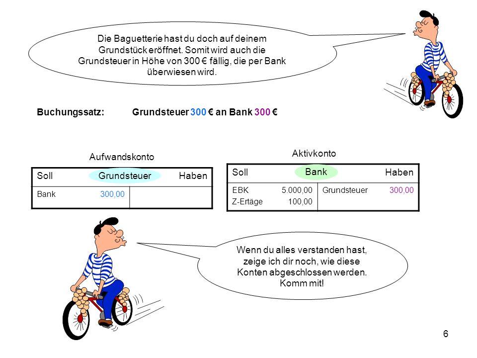 Buchungssatz: Grundsteuer 300 € an Bank 300 €