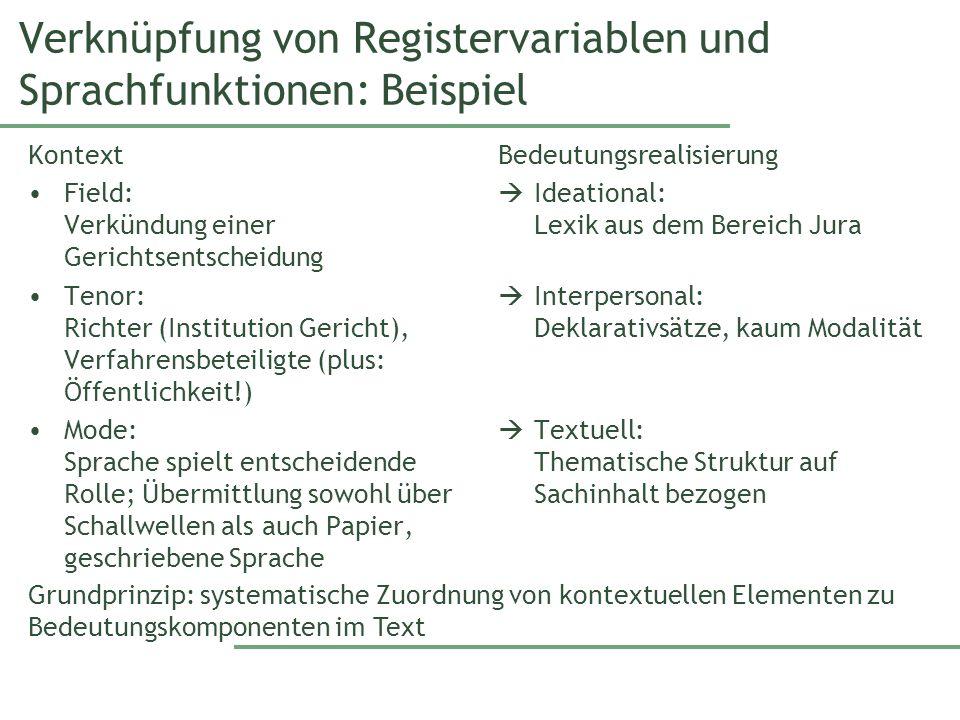 Verknüpfung von Registervariablen und Sprachfunktionen: Beispiel