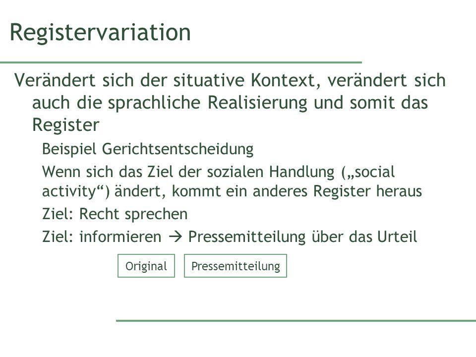 Registervariation Verändert sich der situative Kontext, verändert sich auch die sprachliche Realisierung und somit das Register.