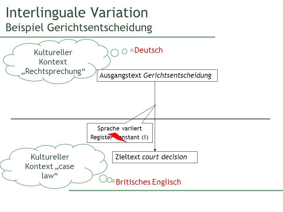 Interlinguale Variation Beispiel Gerichtsentscheidung