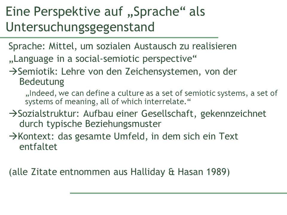 """Eine Perspektive auf """"Sprache als Untersuchungsgegenstand"""
