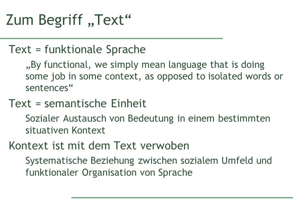 """Zum Begriff """"Text Text = funktionale Sprache"""