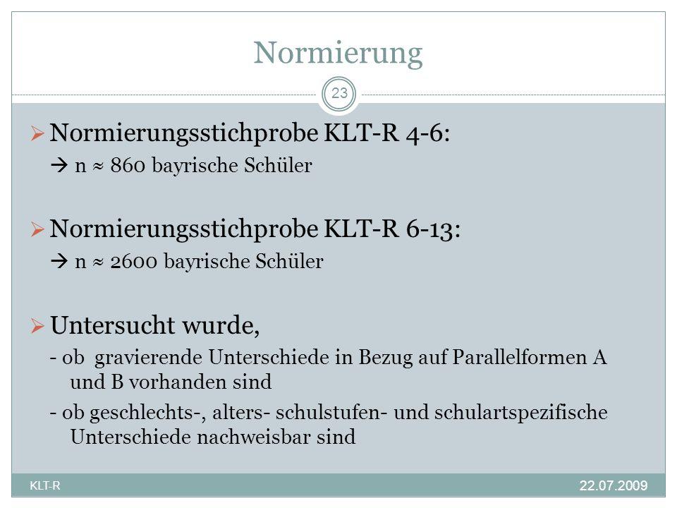 Normierung Normierungsstichprobe KLT-R 4-6: