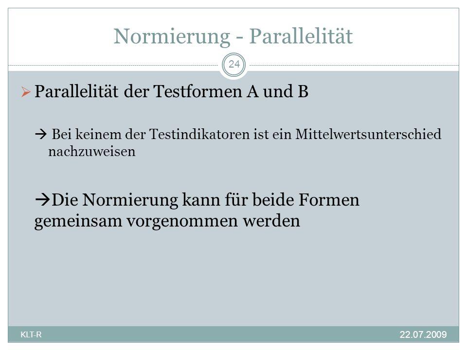 Normierung - Parallelität