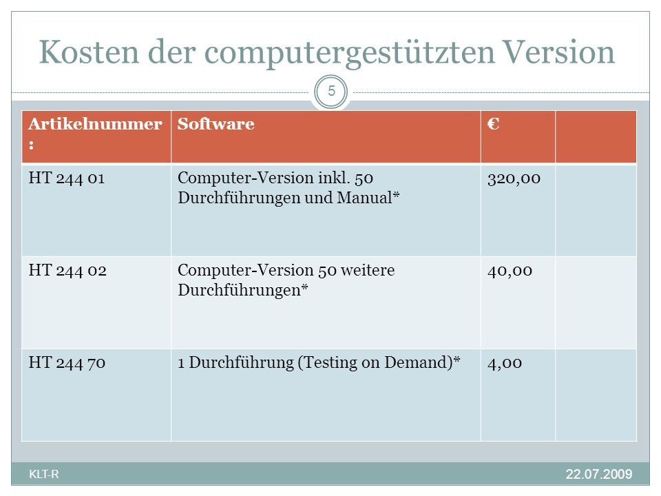 Kosten der computergestützten Version