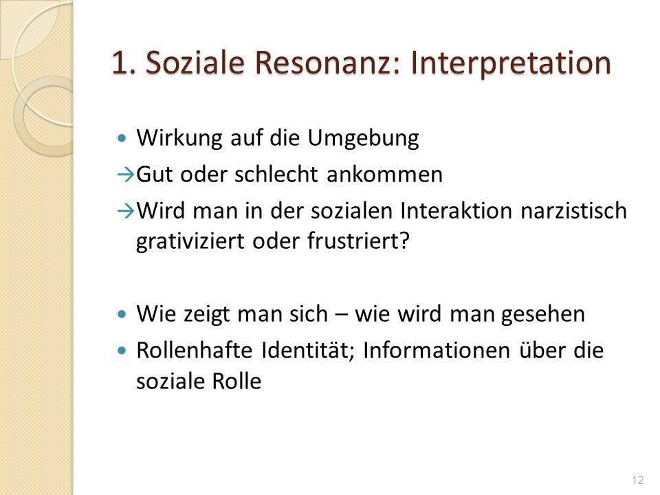 1. Soziale Resonanz: Interpretation