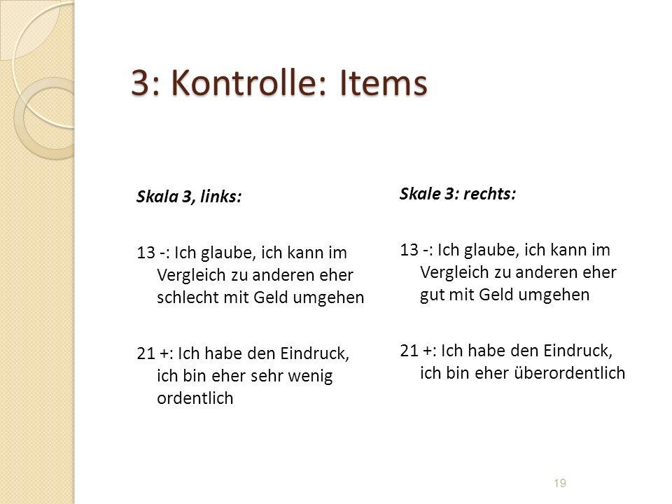 3: Kontrolle: Items Skala 3, links: