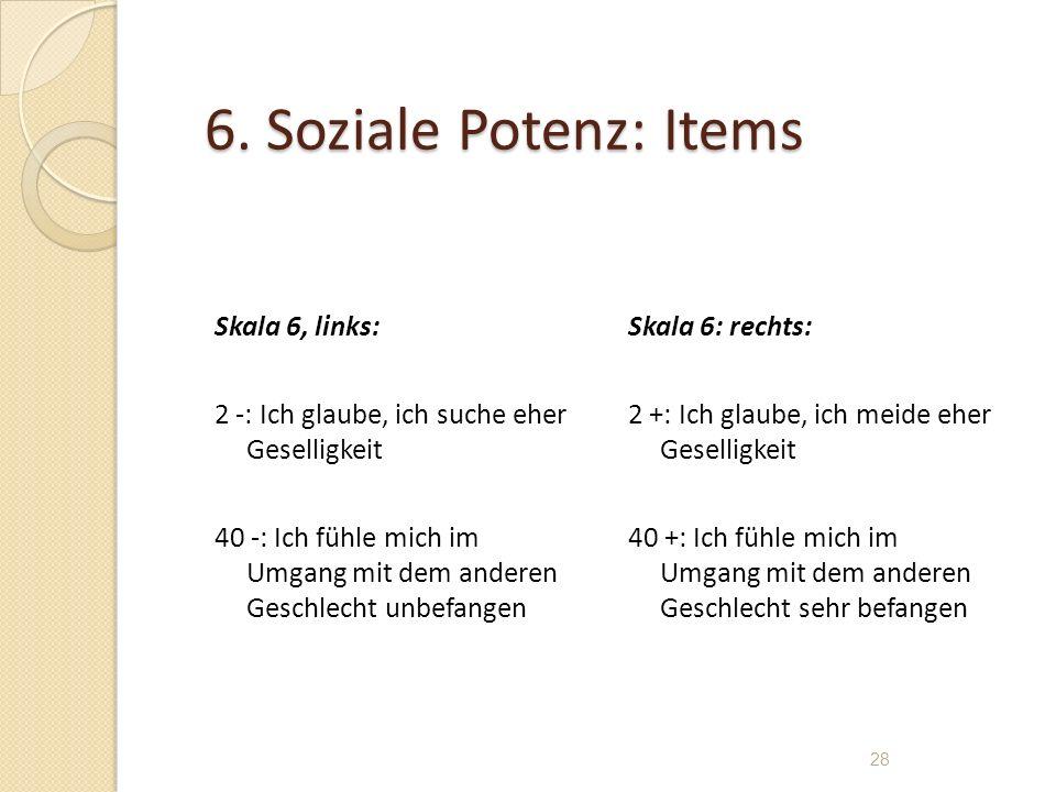 6. Soziale Potenz: Items Skala 6, links: