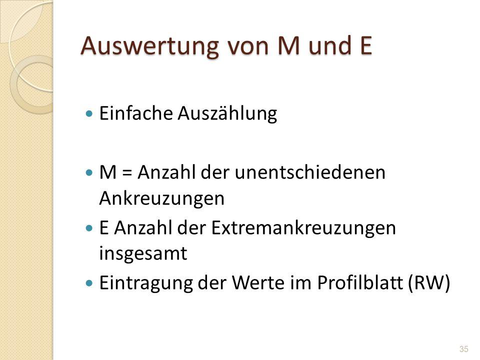 Auswertung von M und E Einfache Auszählung