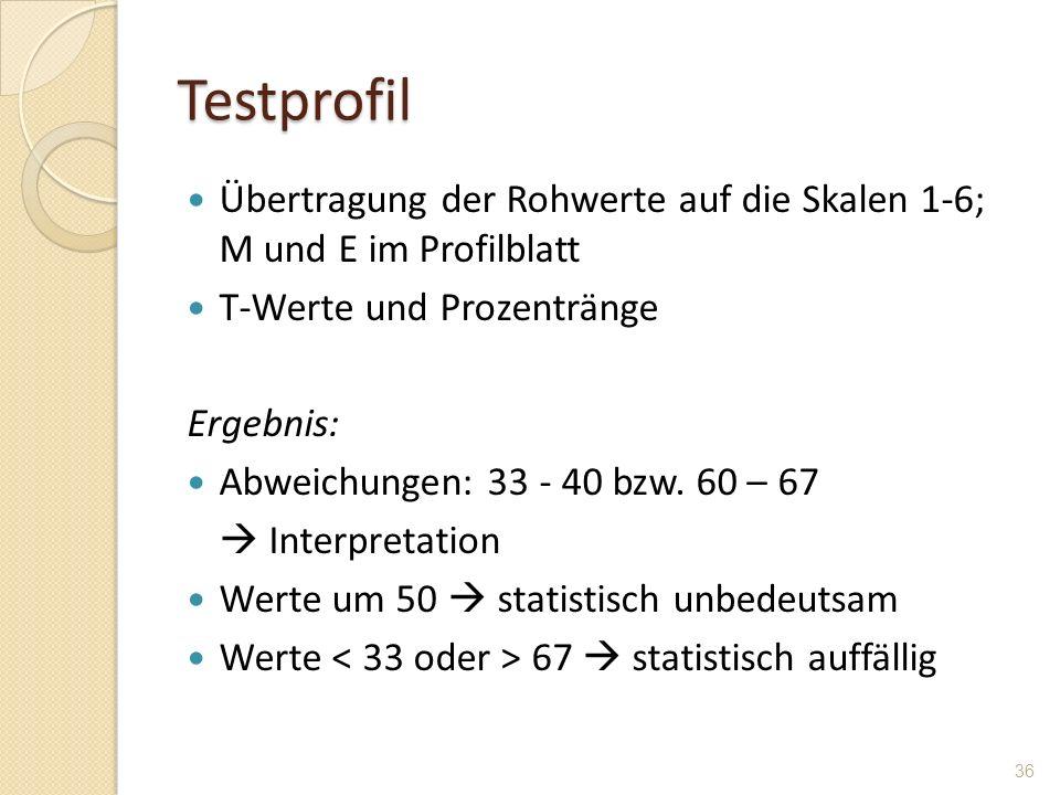 Testprofil Übertragung der Rohwerte auf die Skalen 1-6; M und E im Profilblatt. T-Werte und Prozentränge.