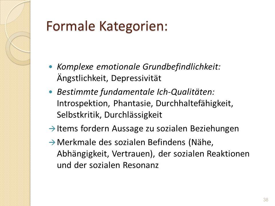Formale Kategorien: Komplexe emotionale Grundbefindlichkeit: Ängstlichkeit, Depressivität.