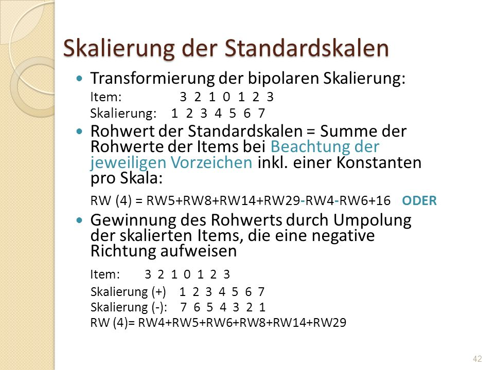 Skalierung der Standardskalen