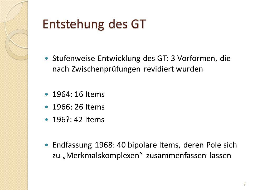 Entstehung des GT Stufenweise Entwicklung des GT: 3 Vorformen, die nach Zwischenprüfungen revidiert wurden.