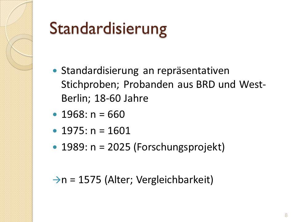 Standardisierung Standardisierung an repräsentativen Stichproben; Probanden aus BRD und West- Berlin; 18-60 Jahre.