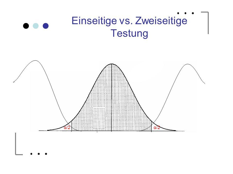 Einseitige vs. Zweiseitige Testung