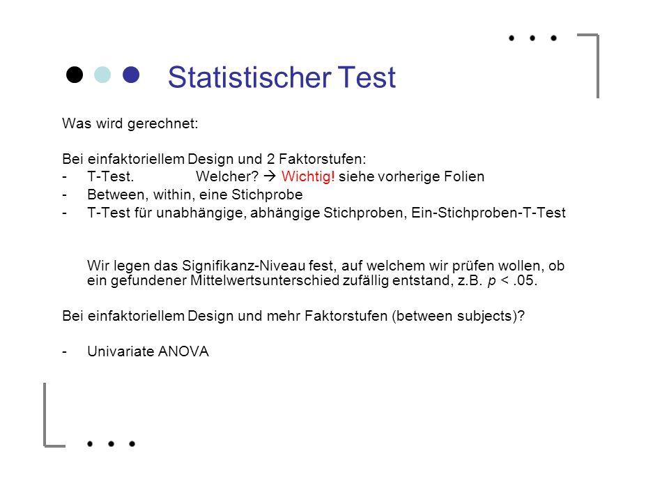 Statistischer Test Was wird gerechnet: