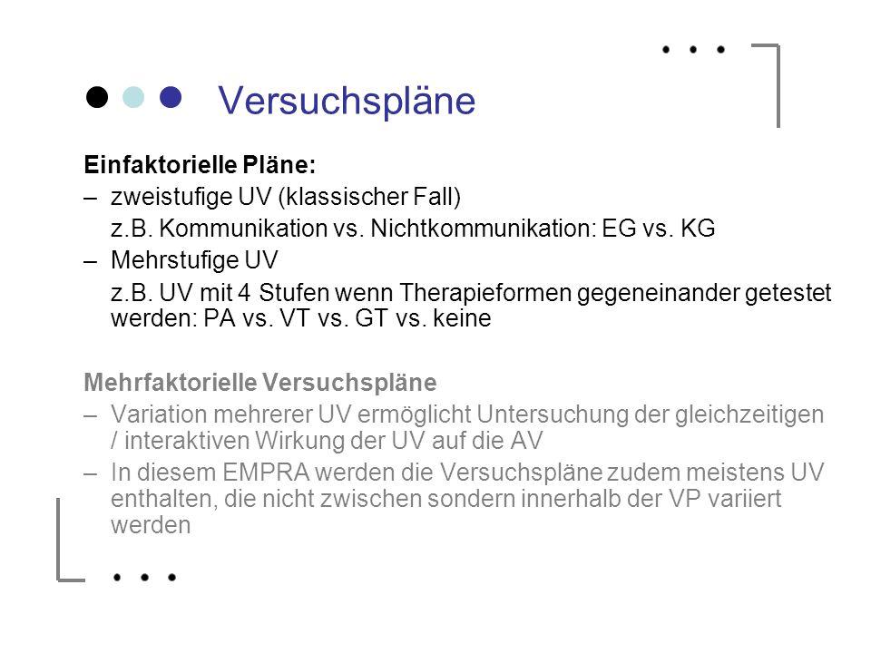 Versuchspläne Einfaktorielle Pläne: zweistufige UV (klassischer Fall)