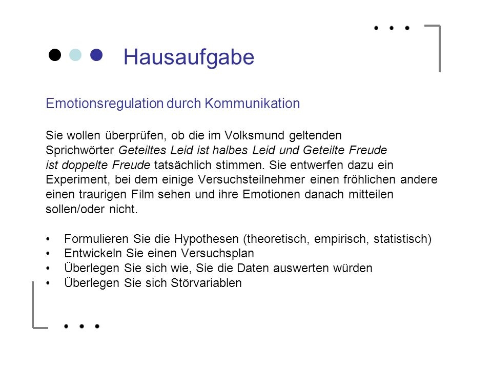 Hausaufgabe Emotionsregulation durch Kommunikation