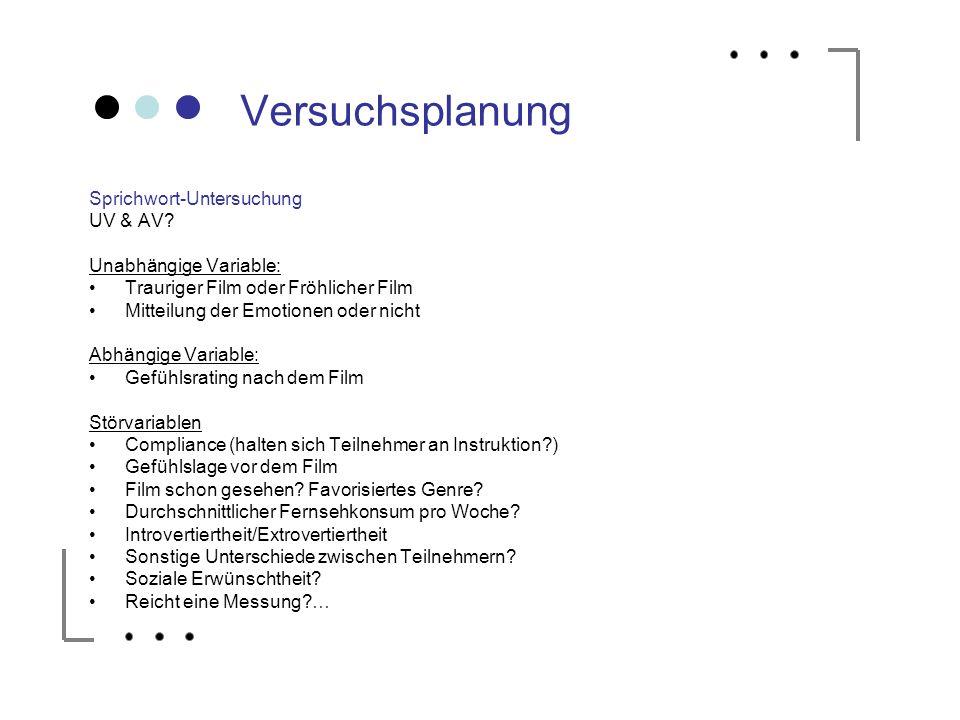 Versuchsplanung Sprichwort-Untersuchung UV & AV Unabhängige Variable: