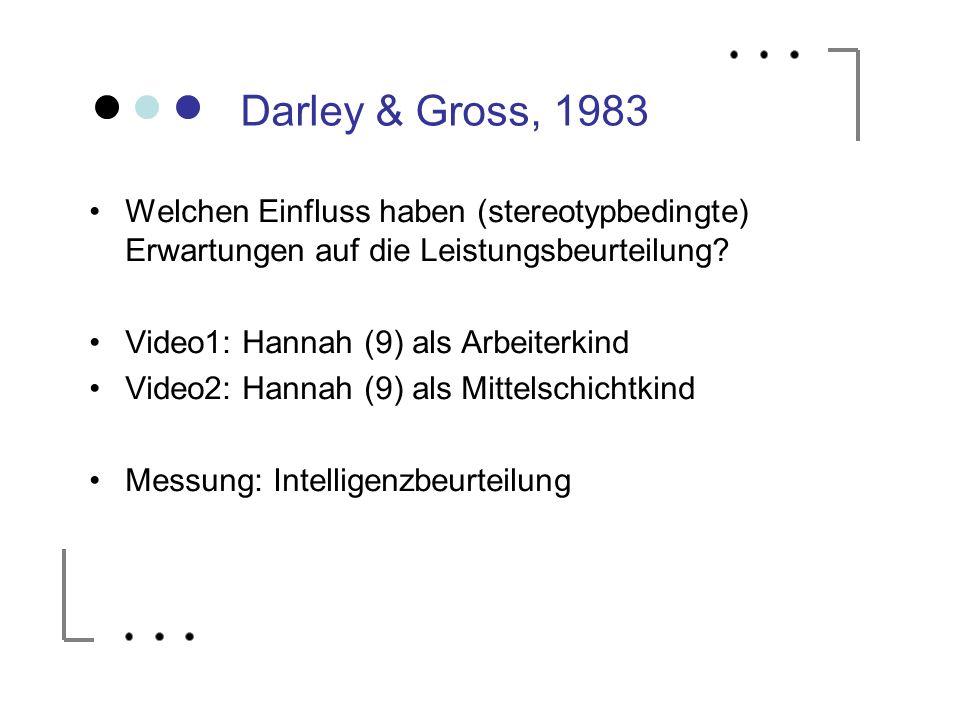Darley & Gross, 1983 Welchen Einfluss haben (stereotypbedingte) Erwartungen auf die Leistungsbeurteilung