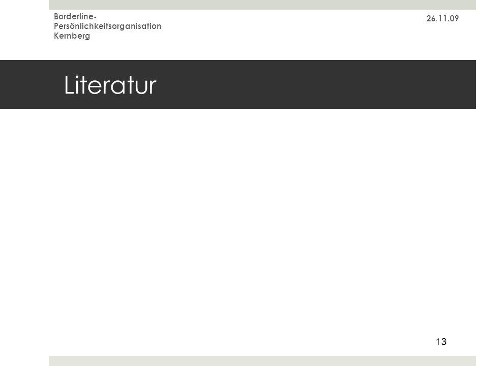 26.11.09 Borderline-Persönlichkeitsorganisation Kernberg Literatur