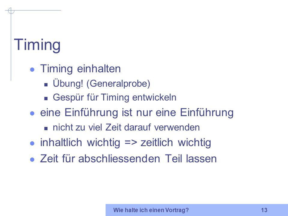 Timing Timing einhalten eine Einführung ist nur eine Einführung