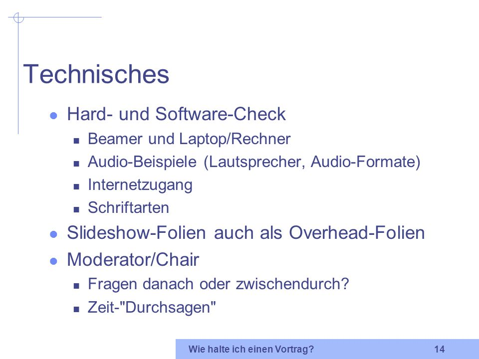 Technisches Hard- und Software-Check
