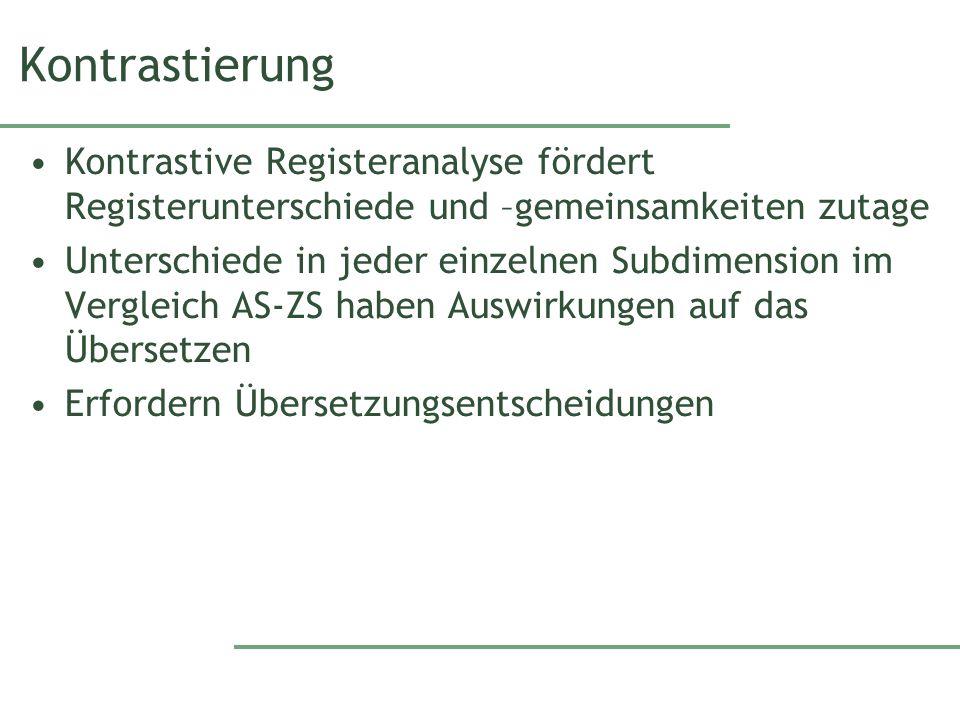 Kontrastierung Kontrastive Registeranalyse fördert Registerunterschiede und –gemeinsamkeiten zutage.