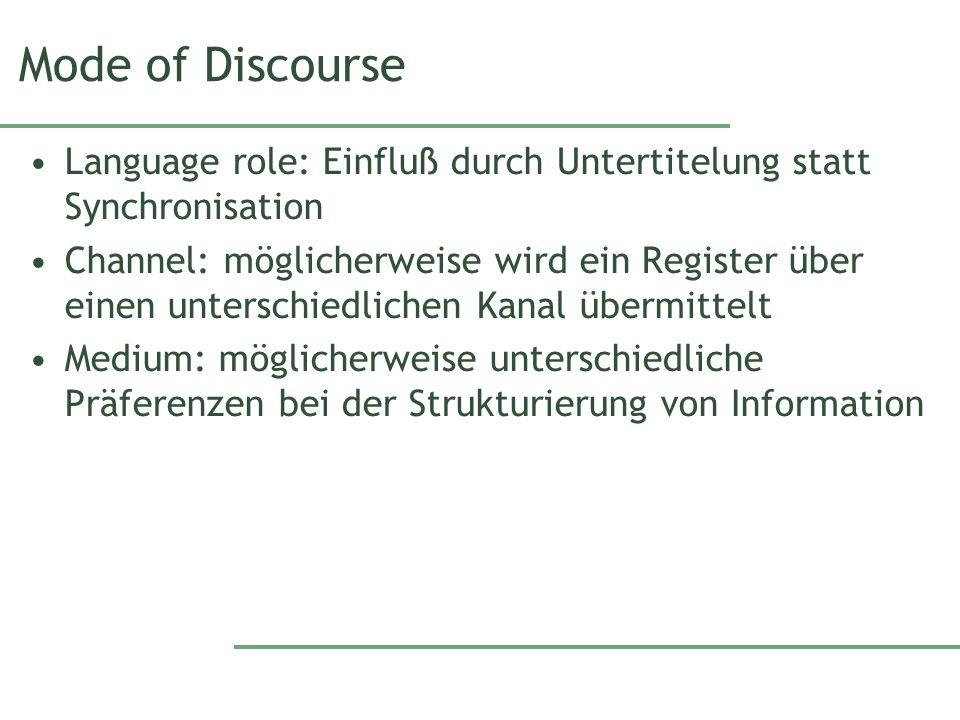 Mode of Discourse Language role: Einfluß durch Untertitelung statt Synchronisation.