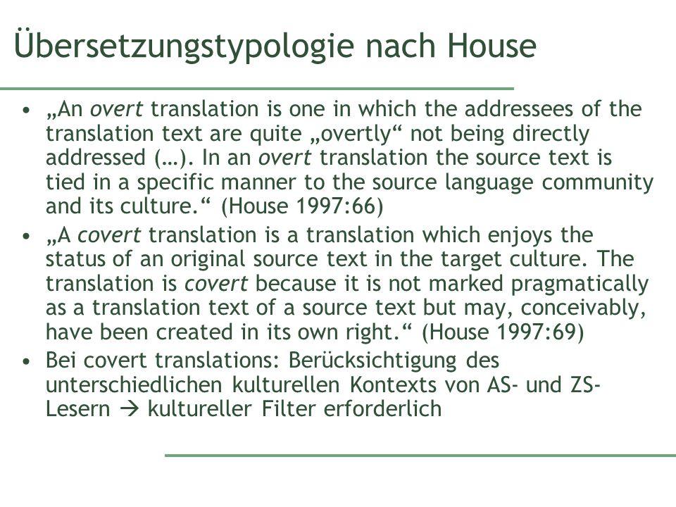 Übersetzungstypologie nach House